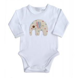 MALI ME L/S BODYSUITS, PINK/GREY ELEPHANT