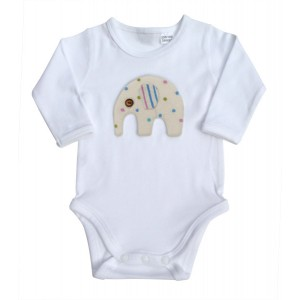 MALI ME L/S BODYSUITS, BLUE ELEPHANT WITH RED CART